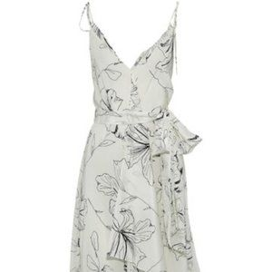 DVF White Silk Floral Maxi Dress L